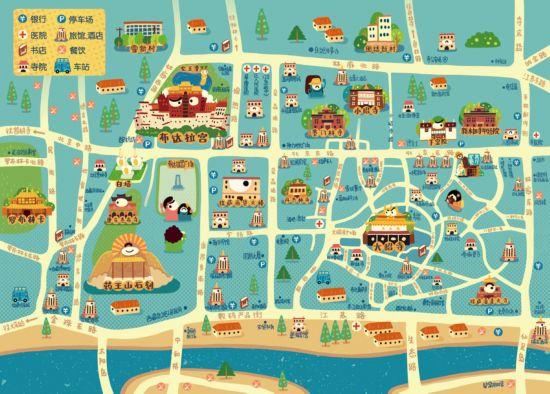 中国插画家林P酱创作Q版西藏旅行地图--西藏